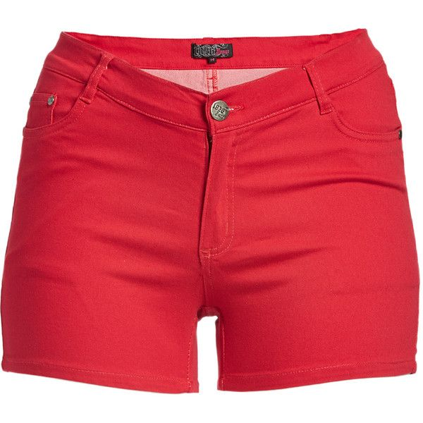 1826 Jeans Red Twill Shorts ($17) ❤ liked on Polyvore featuring shorts, plus size, red shorts, plus size shorts, plus size red shorts, womens plus size shorts and twill shorts