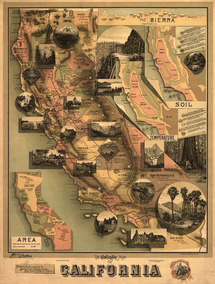 1888 California Points of interests MAP ART