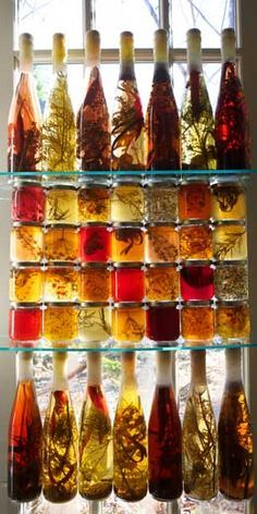 HERB VINEGARS AND OILS/ another idea for the favors table.  Get the savory with the sweet.  @Laura Dillingham