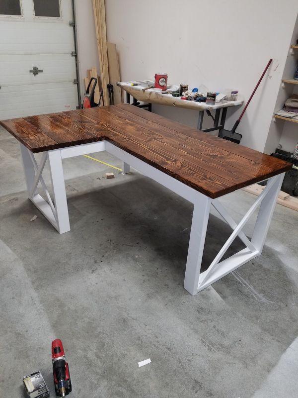 L Shaped Double X Desk Diy Desk Plans Diy Crafts Desk Diy