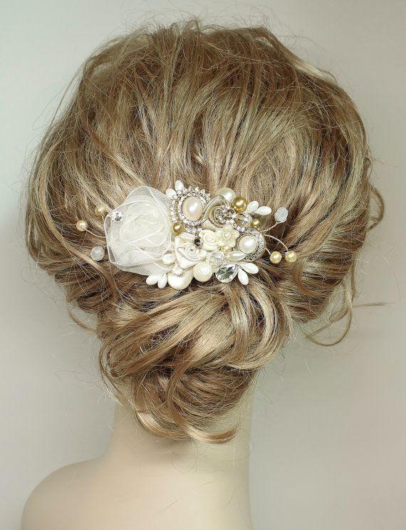 Gold & Ivory Bridal Haircomb-Wedding Hair Piece- Gold Bridal Hair Accessories-Statement Bridal hairpiece-Gold Bridal clip- Floral Haircomb by BrassBoheme on Etsy