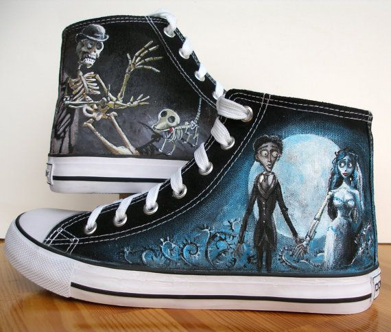 Custom  Hand Painted Converse Shoes Corpse Bride Any by BeressyArt, £80.00