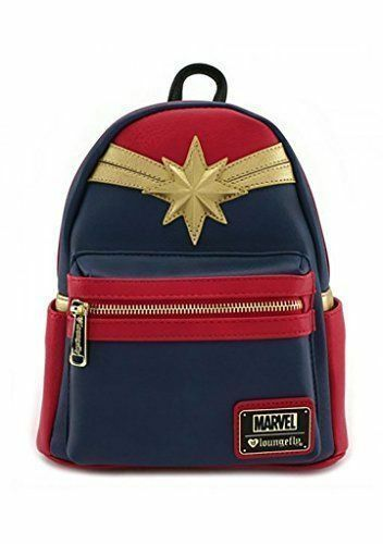 Loungefly Women's Captain Marvel Backpack Faux Leather Mini Pack Bag