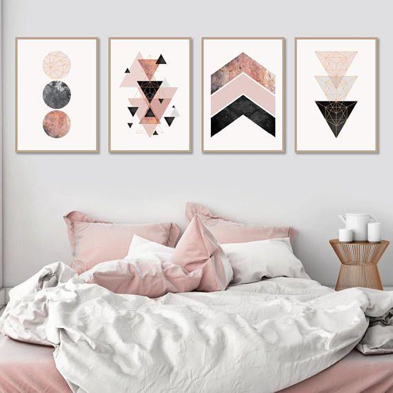 Set Of 4 Downloadable Geometric Prints In Blush Pink Rose Gold