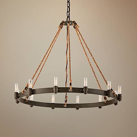 """Pike Place 32"""" Wide Rope and Wrought Iron Chandelier"""