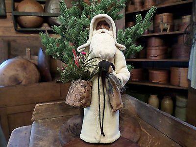 Primitive Old Cream Wool Homespun Santa Claus~Snowman