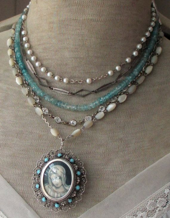 'A MOTHER'S WISH' vintage assemblage necklace with hand painted Virgin Mary portrait brooch by The French Circus, $310.00