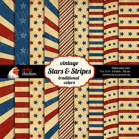 Stars & Stripes Digital Scrapbook Paper Pack - traditional vintage red, ivory, and blue - July 4th Patriotic 12 x 12 background papers