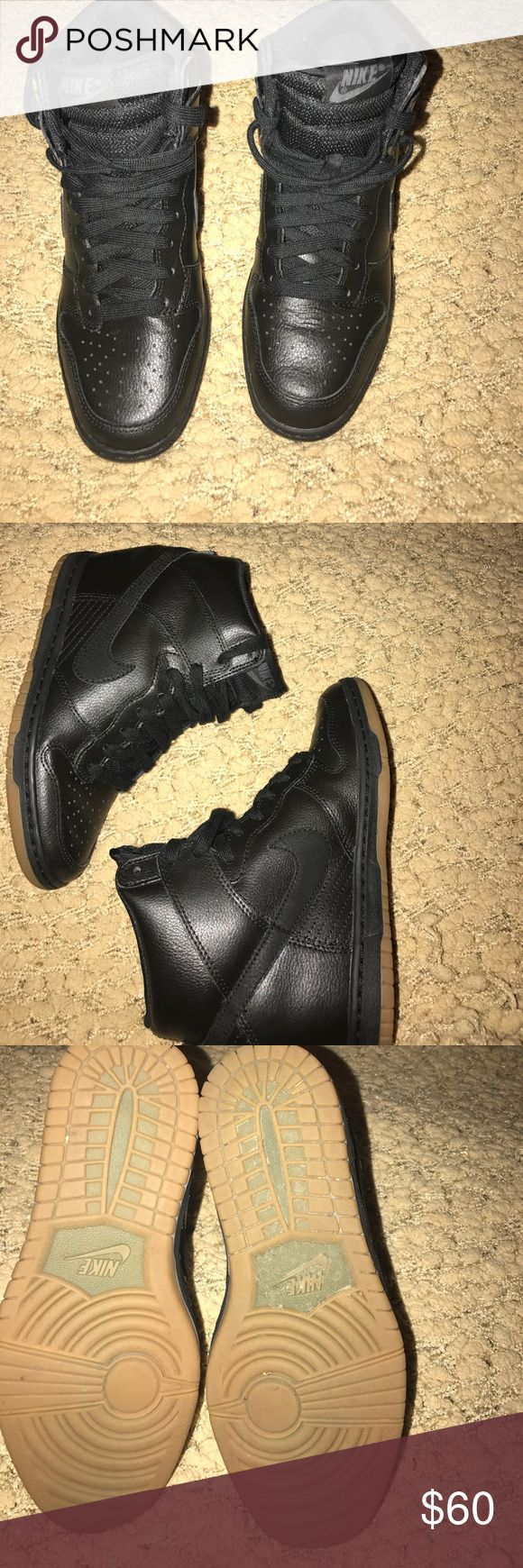 Nike wedge tennis shoe Black leather Nike Dunk SkyHi Shoes are in excellent condition basically new Nike Shoes Sneakers
