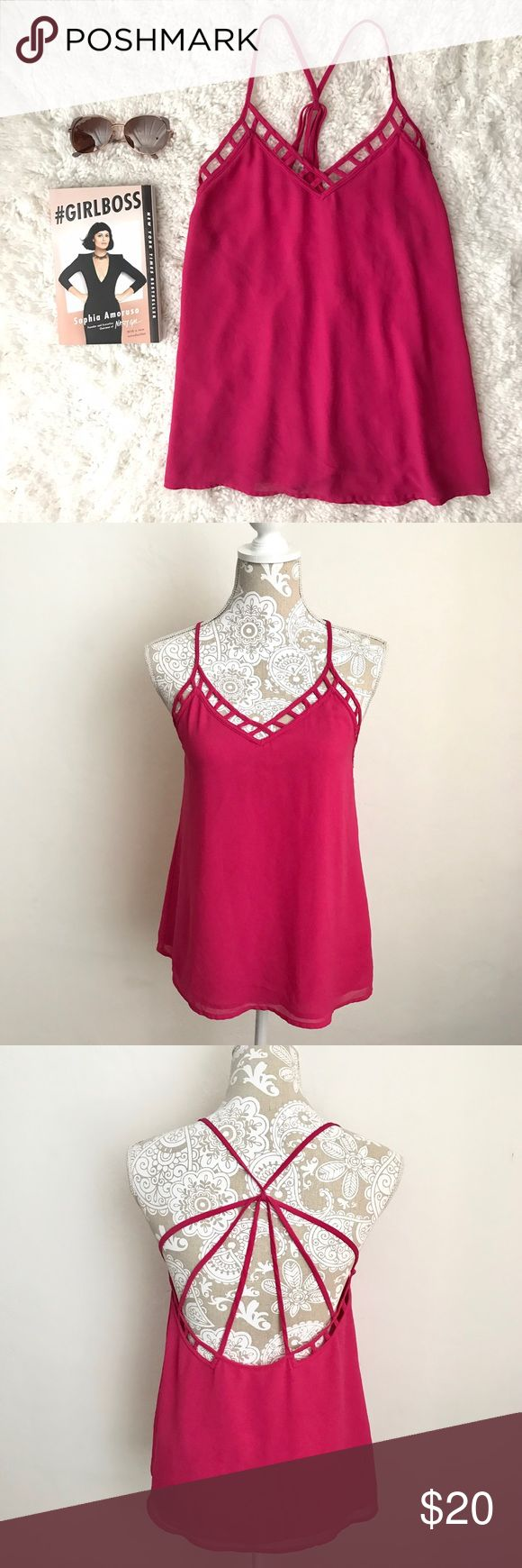 Hot Pink Strappy Top💖 Perfect top for summer! This hot pink top with a sexy strappy back can be dressed up or down! Wear with a cute lace bralette under for a casual chic look💕 Adjustable straps V-neck front Open back  Fits true to size Tops Blouses