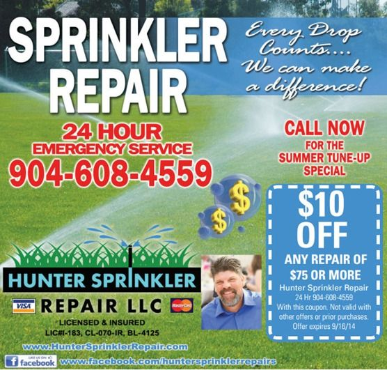 Hunter Lawn Sprinkler System Repair Servicing Clay Duval County