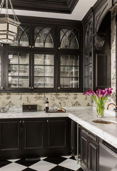 Stunning butler's pantry, black cabinetry, glass fronts, chinoiserie wallpaper - Terrat Elms Interior Design