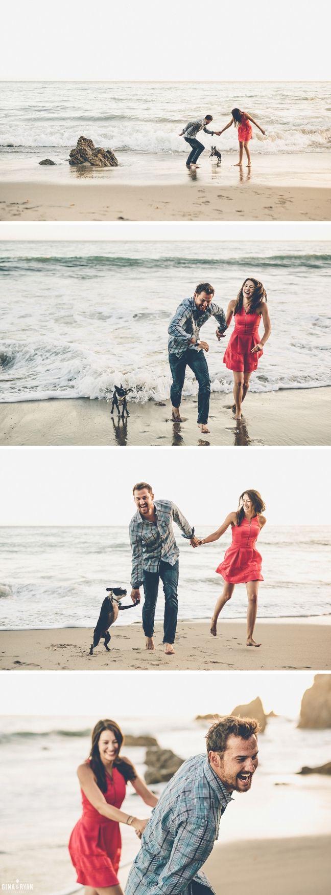 So fun and beautiful | Matador Beach Engagement Session Photos | Los Angeles Wedding Photography