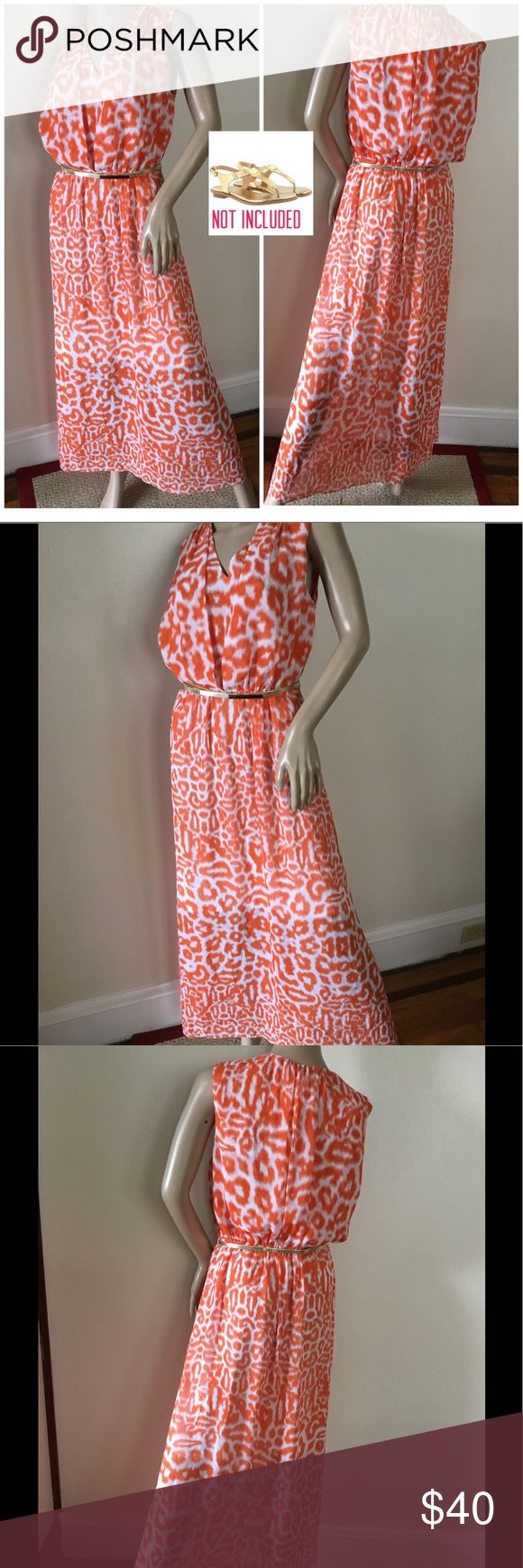 """A bold print knit maxi dress with playful style. A bold, ikat-style print infuses this knit maxi dress with playful style. V neckline Faux front drape & Blossom Back, Sleeveless, Concealed zip at side, Maxi silhouette. Mini skirt full lined, Hits at ankles, Wrinkles free, light weight, perfect for travelers, Chiffon fabrication, Thin gold tone belt at waist, Add gold metallic sandals to the mix for the weekend! LONG 54""""; BUST 18""""; ELASTICIZED WAIST 13"""" to 16""""  LOOK AT THE PICTURES,  THEY ARE…"""
