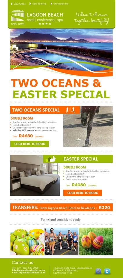 Check out our Two Oceans Special with Spa Treatments :)