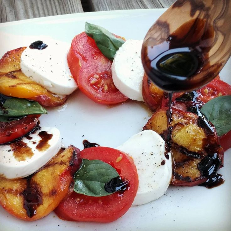 Grilled peach caprese with balsamic glaze