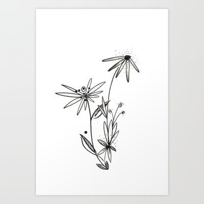 Climbing Flowers Art Print by Jen Posford - $15.00