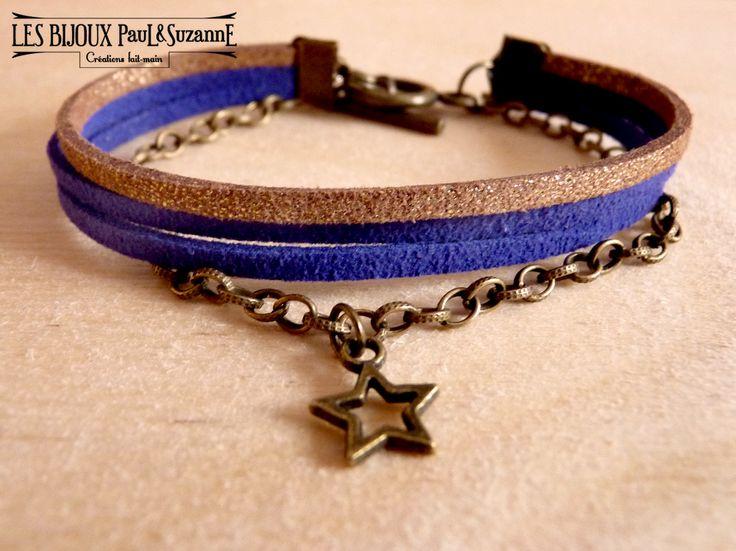 Bracelet Nyota - Suédine & chaîne bronze - - Bleu klein et champagne doré - (Nyota comme étoile en swahili) En vente sur http://pauletsuzanne.com