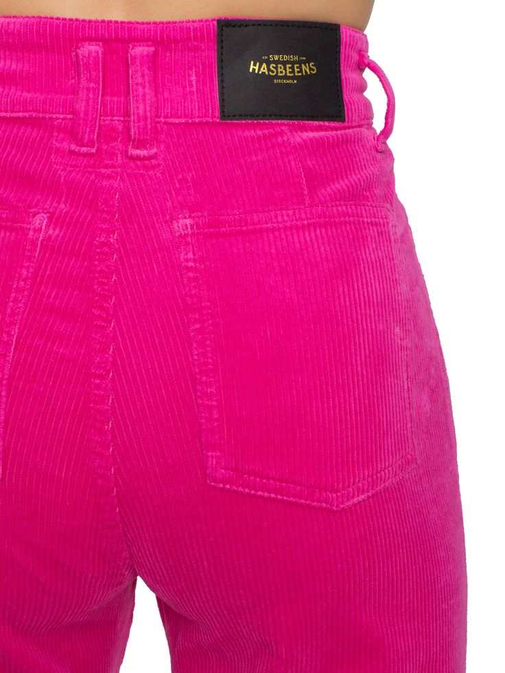 Swedish Hasbeens HasJeans Flare Strong Pink Corduroy