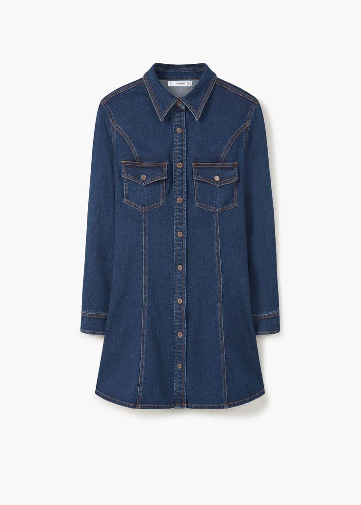 Donkere denim jurk | MANGO dress denim dark blue jeans