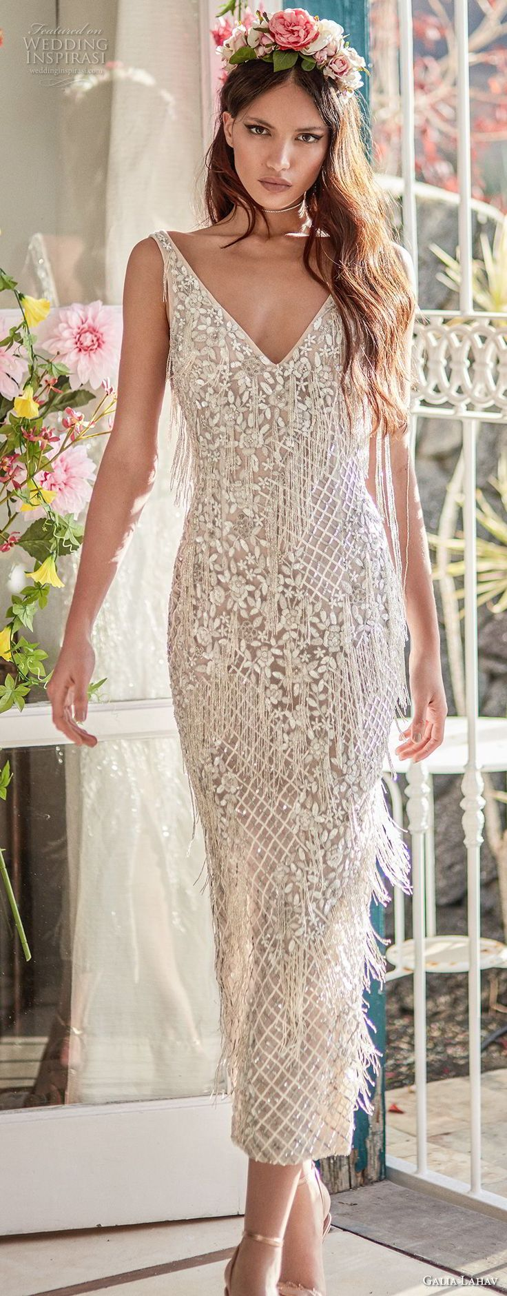 galia lahav couture fall 2018 bridal sleeveless v neck full embellishment elegant short below the knee sheath wedding dress low open back (10) mv -- Galia Lahav Couture Fall 2018 Wedding Dresses