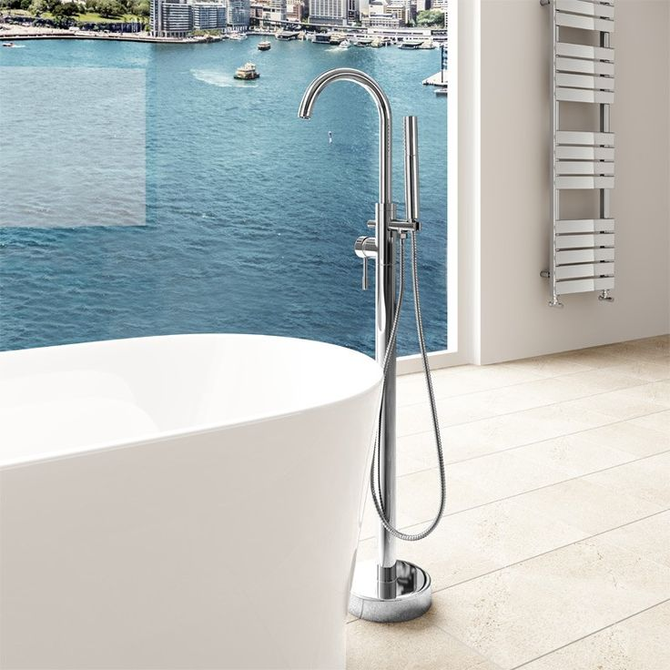 A free-standing bath shower mixer tap with swivel spout. A luxury tap perfect for use with a free-standing bath.
