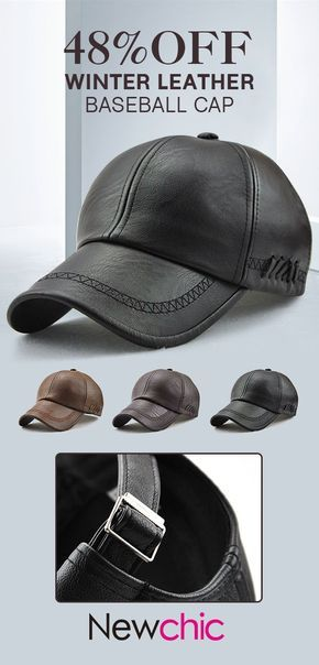 Men Lace-up PU Leather Baseball Caps Outdoor Winter Warm Dad Hat ... c56a6a15044
