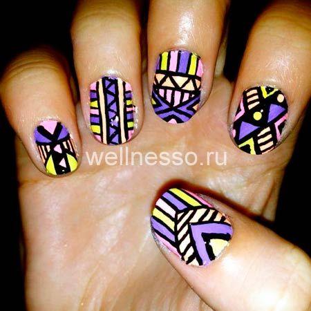 узоры на коротких ногтях черные фиолетовые