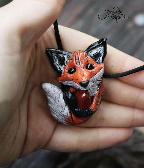 Vörös róka amulett medál :), Ékszer, óra, Nyaklánc, Medál, Meska