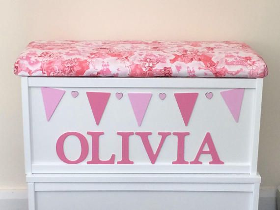 Fairies toy box. Personalised toy box. Dressing up box. Pink