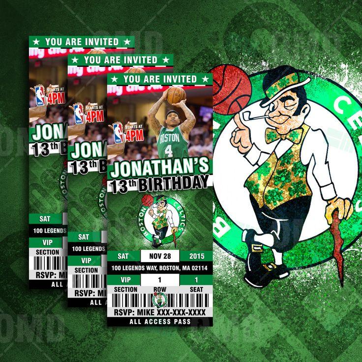 "2.5x6"" Boston Celtics Sports Party Invitation, NBA Sports Tickets Invites, Beantown Basketball Birthday Theme Party by sportsinvites"