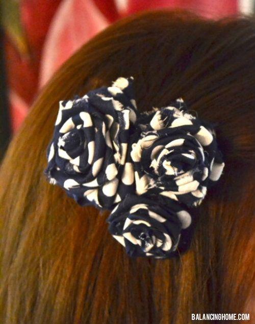 diy fabric flower hair clip making