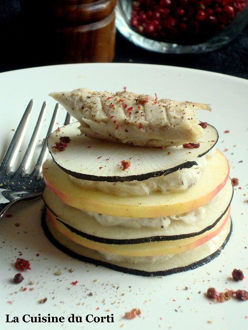 Ingrédients pour 4 à 6 personnes : 2 radis noir ronds 2 pommes 1 maquereau fumé (environ 350g) 100g de faisselle égou...