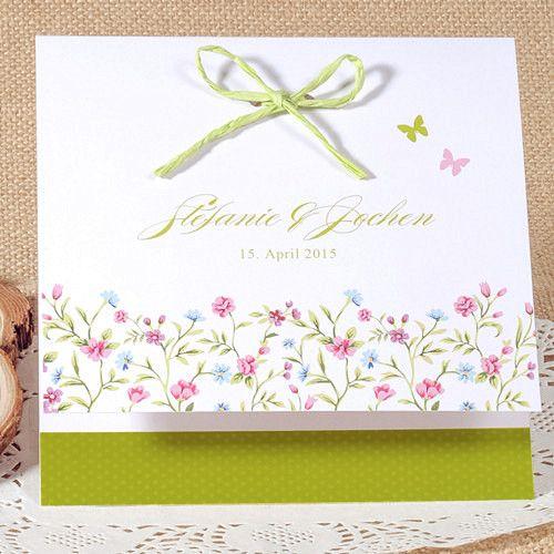 Günstige Einladungskarten Hochzeit Online  Optimalkarten Gruen Und Rosa  Klappkarte Mit Einem Schleifenband   Papiersorte: Glattes Feinpapier Farbe  Der ...
