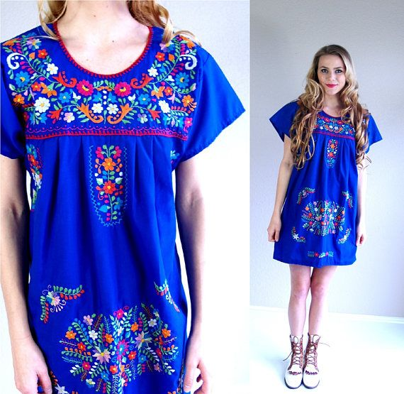 vintage 70s Bright Blue MEXICAN colorful EMBROIDERED DRESS