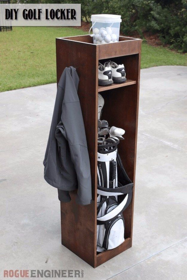 DIY Projects Your Garage Needs -DIY Golf Locker - Do It Yourself Garage Makeover Ideas Include Storage, Organization, Shelves, and Project Plans for Cool New Garage Decor http://diyjoy.com/diy-projects-garage #WoodworkingProjectsGarage