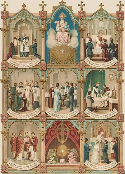 beautiful vintage holy card of The Seven Sacraments
