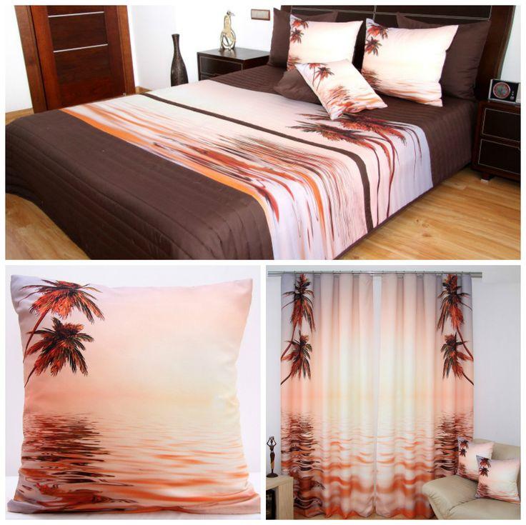 Łososiowe komplety dekoracyjne do sypialni z palmami