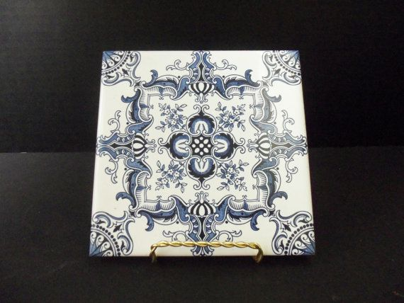 Decorative Ceramic Tile Trivet Cobalt Blue And White Made