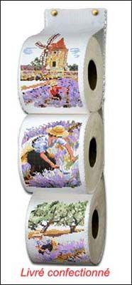<h2>Kit+de+broderie+au+point+de+croix+point+compté+Range+papier+toilette+Les+Lavandes</h2>