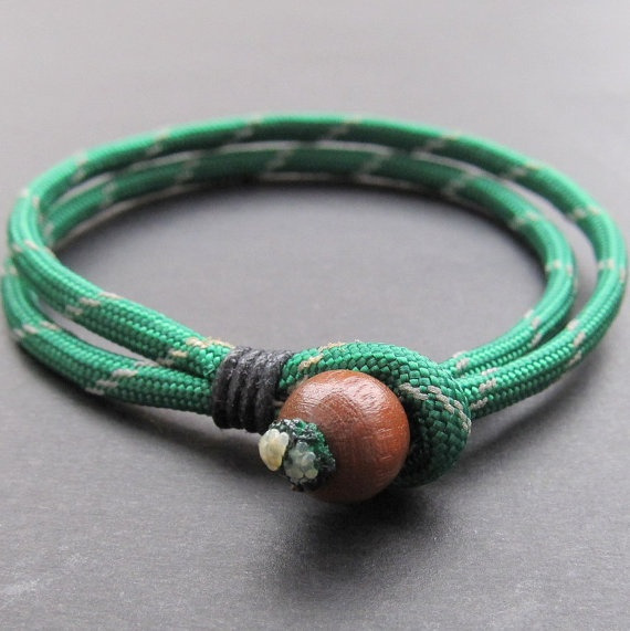 simple  bracelet - paracord bracelet with wooden bead and loop fastener