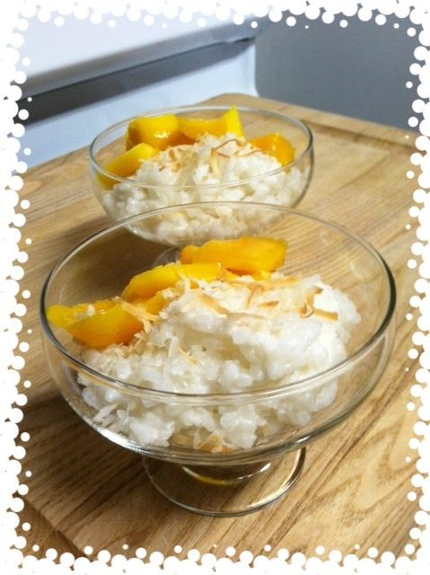 Thai Coconut Sticky Rice with Mango. This dessert is my favorite way to end a meal at a Thai house restaurant, and it's so easy to recreate at home whenever you get the craving. I cooked my sticky (sushi) rice in coconut milk and added sugar to my liking and a dash salt. I arranged the rice and ripe mango slices in my dessert bowls, and topped it off with toasted coconut flakes. The warm rice goes beautifully with the cool, juicy mango.