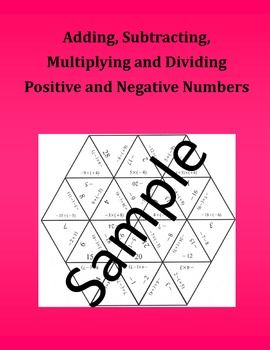 Adding, Subtracting, Multiplying and Dividing Positive and Negative Numbers  Math Puzzle Ive included three different sizes of the same puzzle. The smaller size is only three pages and is great if you are going to print of individual copies for students to practice in class or at home.