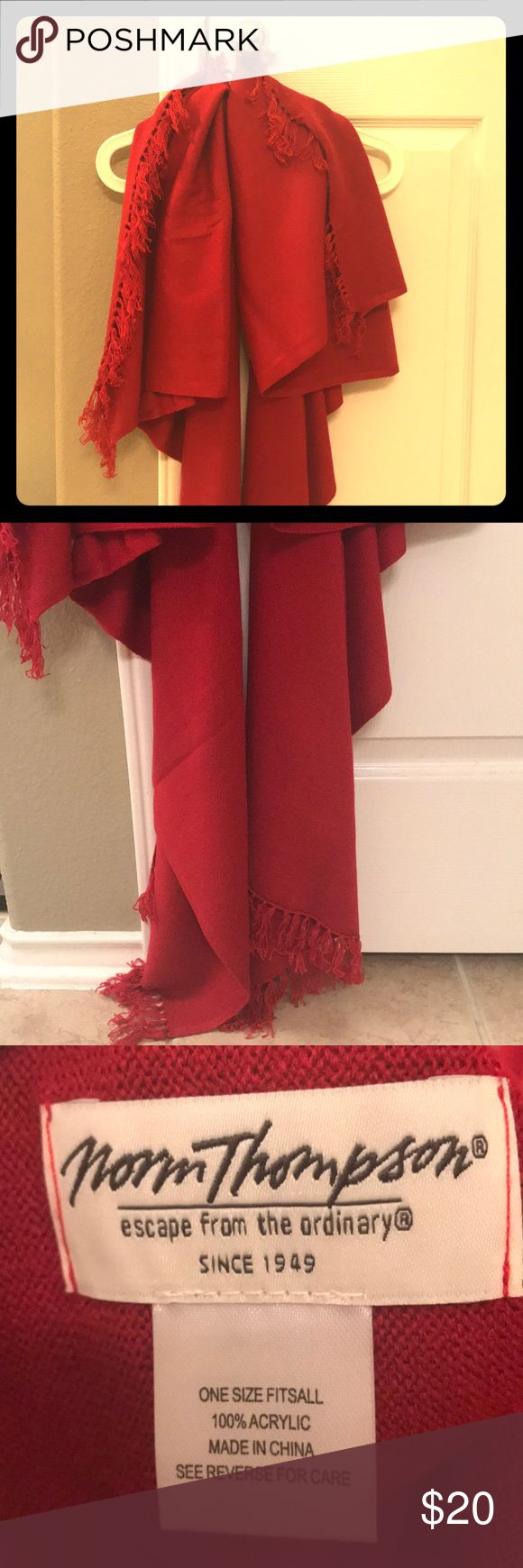 NWOT red pashmina-type shawl Got this for Christmas but I will rarely use it due to living in a hot climate. Never worn, wonderfully soft, and just the thing to warm you up in a cold restaurant or watching TV at night. Sweaters Shrugs & Ponchos