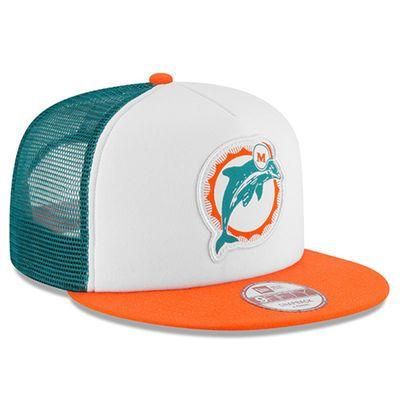 58784145143 New Era Miami Dolphins White Orange Kenny Stills Designed Throwback Foam  Front Trucker 9FIFTY Snapback Adjustable Hat