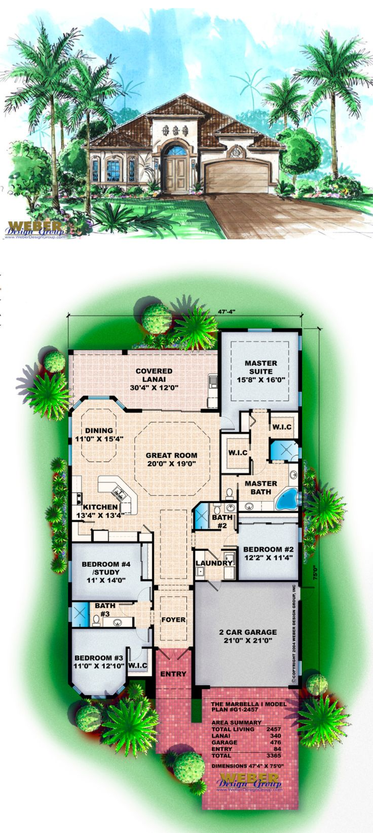 G1-2457 - Marbella I - Mediterranean House Plan.  4 bedrooms, 3 baths, 2,457 square feet of living area. Perfect for narrow lot.