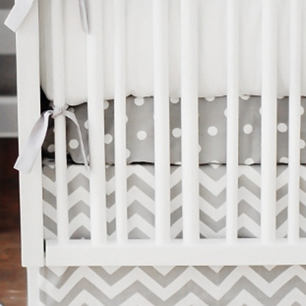$42 White on Gray Polka Dot Twill Crib Sheet
