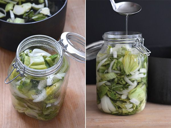 Dưa Chua Recipe – Vietnamese Pickled Mustard Greens (Gai Choy) with Onion | HungryHuy.com