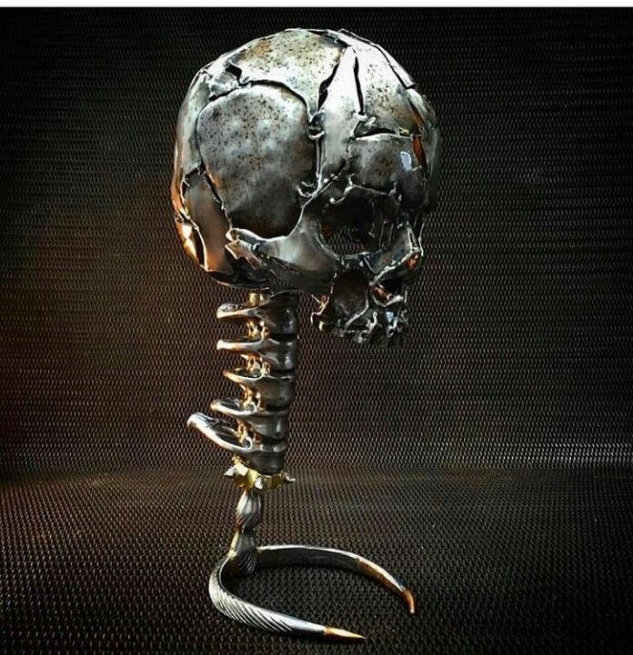 Metal skull art pinterest