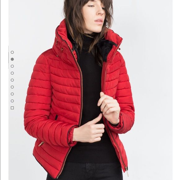 NEW ZARA RED ANORAK COAT Quilted Coat with faux fur collar brand new from Zara. Never worn, never even tried on. Bought as a gift for my sister but she just bought a new coat this weekend so I gotta find something else to get her. RED, SMALL. Cheaper on ♏️ercari Zara Jackets & Coats